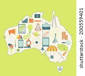 contour map of australia with... | Shutterstock .eps vector #200559401