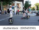 Small photo of Protest to MTC with scooters against the viability law on July 10, 2021 in Madrid, Spain.