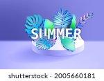 3d tropical leaves scene podium ... | Shutterstock .eps vector #2005660181