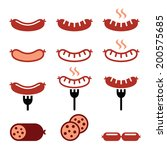 Sausage, grilled, with fork colorful icons set