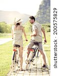 couple having a bicycles ride... | Shutterstock . vector #200575829