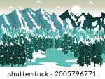 winter snow mountain peak pine...   Shutterstock .eps vector #2005796771