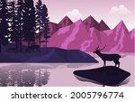 peaceful mountain lake deer...   Shutterstock .eps vector #2005796774