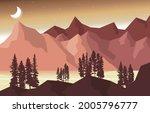 night mountain peak pine trees...   Shutterstock .eps vector #2005796777