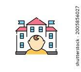 kindergarten  olor line icon....
