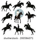 horse and rider jumping ... | Shutterstock .eps vector #200586371