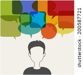 man with speech ballons... | Shutterstock .eps vector #200587721