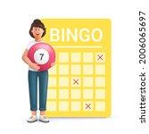 young woman jane playing bingo. ... | Shutterstock .eps vector #2006065697