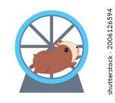 cute hamster running in jogging ... | Shutterstock .eps vector #2006126594