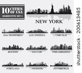 silhouette city set of usa 1 on