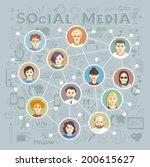 social media circles  network... | Shutterstock .eps vector #200615627