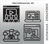 set of video conference icons...