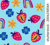 seamless pattern with bright...   Shutterstock .eps vector #2006258564