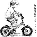 little boy on a bike | Shutterstock .eps vector #200628035