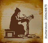 Old Monk Writing A Chronicle O...