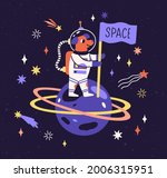 dog astronaut in space suit on... | Shutterstock .eps vector #2006315951