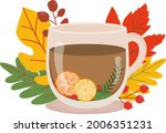 cup of tea decorated with... | Shutterstock .eps vector #2006351231