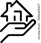 house in hand vector icon. real ... | Shutterstock .eps vector #2006369657