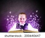 cute school girl with opened... | Shutterstock . vector #200640647