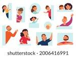 cartoon people peeping.... | Shutterstock .eps vector #2006416991