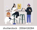 two millennials chatting at the ... | Shutterstock .eps vector #2006418284