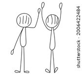 stick figure people stand back  ... | Shutterstock .eps vector #2006422484