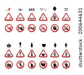 set of prohibition signs. ... | Shutterstock . vector #200644631