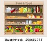 supermarket shelves with food...