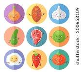 funny food set. vector... | Shutterstock .eps vector #200653109