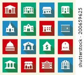 government building icons set... | Shutterstock .eps vector #200659625