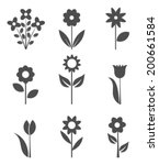 Stock vector set of flower icons vector illustration 200661584