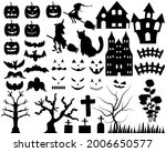halloween silhouettes icon set. ... | Shutterstock .eps vector #2006650577