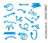 vector blue hand drawn arrows | Shutterstock .eps vector #200673887