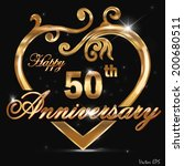 50 year anniversary golden heart, 50th anniversary decorative golden heart design - vector eps10