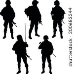 Army Soldiers With Rifle...
