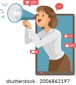 business woman shouting in... | Shutterstock .eps vector #2006862197