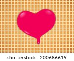 pink hearts dripping on waffles ... | Shutterstock . vector #200686619