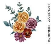 watercolor drawing bouquet of... | Shutterstock . vector #2006876084