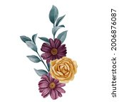 watercolor drawing bouquet of... | Shutterstock . vector #2006876087