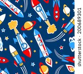 rockets in space seamless... | Shutterstock . vector #200689301