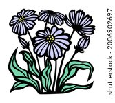 purple daisies and green leaves.... | Shutterstock .eps vector #2006902697