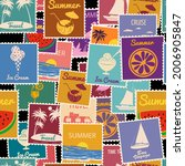postage stamps seamless pattern ... | Shutterstock .eps vector #2006905847