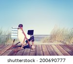 businessman working by the beach | Shutterstock . vector #200690777