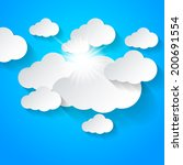 white clouds and sun shining on ... | Shutterstock .eps vector #200691554