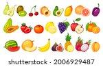 Cartoon Fruit Slices. Kiwi...