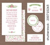 set of wedding cards or... | Shutterstock .eps vector #200710265
