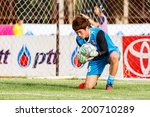 Small photo of SISAKET THAILAND-JUNE 21: Chanin Sae-Eae of Singhtarua FC. during a training ahead Thai Premier League between Sisaket FC and Singhtarua FC at Sri Nakhon Lamduan Stadium on June 21,2014,Thailand