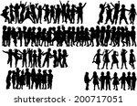 children silhouettes  | Shutterstock .eps vector #200717051
