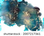 colorful and gold alcohol ink... | Shutterstock . vector #2007217361