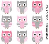 Cute Owl Vector Set  ...